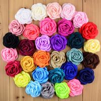 32 couleurs 2.36 '' cuites fleurs artificielles en rosette de satin artificielle accessoires vestimentaires bricolage produits 100pcs / lot MH31