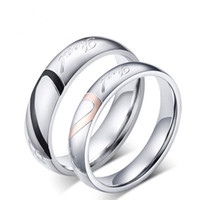 사랑 하트 커플 반지 티타늄 스테인레스 스틸 반지 사랑 선물 실버 밴드 링 남자 여자 결혼 반지