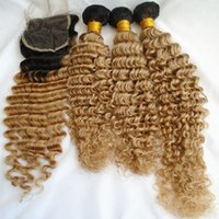 Two Tone Brazilian Deep Wave Virgin Hair Bundles With Lace C...