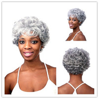 Xiu Zhi 메이 28CM 실버 화이트 합성 곱슬 가발 노인 여성을위한 아프리카 계 미국인 단발 머리카락 가발 내열성