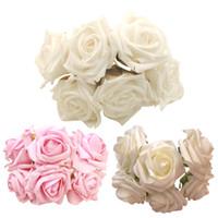 الجملة -6 قطع زهرة الاصطناعية روز إيفا رغوة diy العروس الورود ل حفل زفاف الديكور المنزل الديكور محاكاة الزهور المنزل