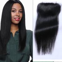 3.5 * 4 Brezilyalı Malezya Hint Perulu Vietnamca Moğol Saç Üst Dantel Kapatma 8-20 inç İpek Düz Doğal Renk İnsan Saç Kapatma