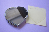 양면 심장 모양의 컴팩트 거울 확대 된 빈 메이크업 미러와 에폭시 수지 스티커 세트 DIY # M0838 드롭 배송