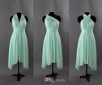 Robe de demoiselle d'honneur décapotable de mousseline de mousseline de soie Turquoise Mint Green Wedding Party Robes De Nouveaux Robes de demoiselle d'honneur