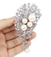Spilla da cerimonia nuziale con fiocco in cristallo rodiato e crema perlato a 2,4 pollici vintage tono rodio