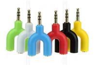 새로운 U 형 잭 3.5mm 듀얼 3.5mm AUX 케이블 헤드폰 분리기 남성 남성 스테레오 오디오 이어폰 분배기 어댑터