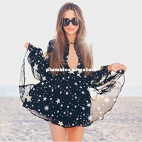 Sexy deep V neck star printed beach chiffon dresses women fl...