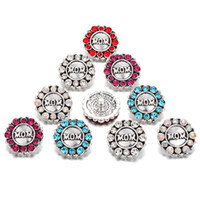 Fashion Interchangeable MON Crystal Snap Rhinestone Chunks Boutons Fit DIY 18MM Boutons à bouton-pression pour Boutons Femmes