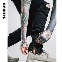 Atacado-homem mens hiphop biker corredores harem pants homens ganhos trabalho zíper lateral carga casual sweatpants preto branco roupas urbanas roupas