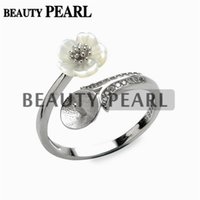 5 Pieces White Shell Flower Ring Blank Jewelry Findings Pear...