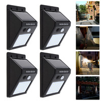 4 pcs! Rechargeable Solar Power LED Wall Light PIR Motion Se...