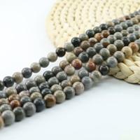 Lucido liscio americano immagine Jasper Round Beads pietra preziosa semipreziosa Bead 4/6/8 / 10mm 15 pollice Strand Per Set L0075 #