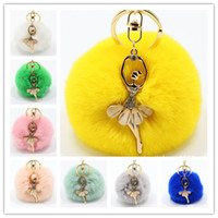 Real Rabbit Fur Ball Keychain Soft Fur Ball Diamond little a...