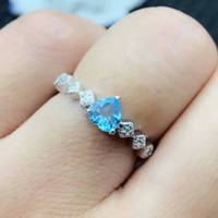 Promotion fashion topaz ring romantic heart shape natural to...