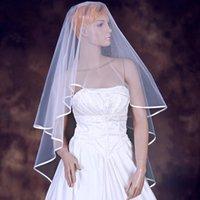 2017 Brand New Bridal Veils with Ribbon Edge One Layer White/Ivory Short Wedding Accessories Stock Elegant Wedding Veil