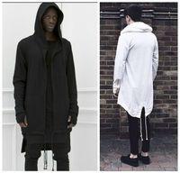 Felpe con cappuccio per uomo Urban Hoodie Hip Hop Jacket Bianco / Nero Cappotto per uomo Extended Cape Hoodie Mens Hooded Cloak Hoodies