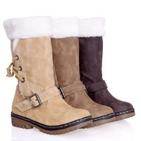 Womens winter knee high lift flat snow boots on high legs ve...
