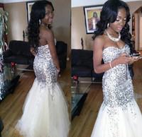 Sparkly Long Mermaid Prom Kleider für Schwarze Mädchen 2017 Bling Silber Pailletten Weiß Tüll Afrikanische Abendkleider Abschlusskleid