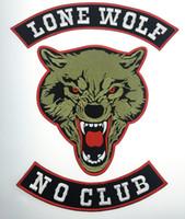Moda LONE WOLF LONE WOLF NO CLUB MC Motociclista Moto Patch ricamato Ferro sulla giacca Gilet Rider Badge Patch di grandi dimensioni Spedizione gratuita