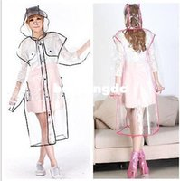 Portable Women' s Clear transparent Thickned Hooded Rain...