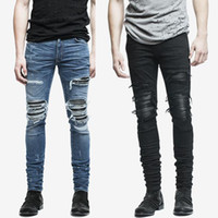 Wholesale- fashion mens jeans hole pants ankle cool blue jogger damage jeans rock star High Quality Casual destroyed skinny ruched jeans