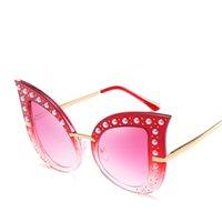 الأزياء القط العين النظارات الشمسية المرأة اللؤلؤ الديكور الإطار المعتاد برشام ظلال الكمبيوتر + إطار معدني نظارات الشمس مع القضية