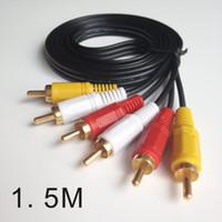 розничная упаковка 5FT 1.5M Тройной 3 RCA к 3RCA Composite Audio Video между мужчинами AV-кабель подключи