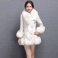 Estilo europeu Mulheres Inverno Casaco de Pele De Falso De Couro Casaco de Inverno Senhoras Elegantes Roupas Casaco