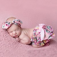 Floral Baby Bloomer & headband Set Newborn Ruffle Diaper cov...