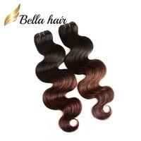 2 Tone Ombre cheveux Tissages corps Extension malaisienne cheveux vague cheveux Trame 14 ~ 30 pouces 3pcs / lot DHL Livraison gratuite BellaHair OmbreHair