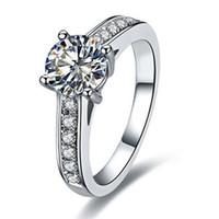 1CT Sterling Silver Jewelry C Brand Copy Copy Anello di qualità per le donne NSCD Diamond Ring Gegagement regalo Semi montaggio 18 carati in oro bianco placcato