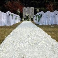 10m / lot 1.4 m Largeur Romantique Blanc 3D Rose Petal Tapis Corps d'allée pour fond de mariage Centerpieces Favors Party Decoration Supplies