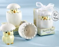 (10pcs / lot = 5boxes = 5sets) Cute Baby Birthday Party Favor à propos de Hatch Céramique de poussin de bébé Sel et poivrière Pour les souvenirs de bébé