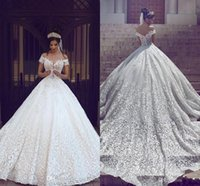2018 New Arabic Wedding Dresses A Line Cap Sleeves Off Shoul...
