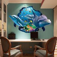 Dibujos animados Dolphins Etiquetas de pared Decoración para el hogar 3D Submarino Mundo Moda Creativo DIY PVC Papel pintado para niños