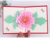 모란 팝업 카드 인사말 카드 축하, 생일, 생일 또는 결혼식 축하를위한 선물 카드