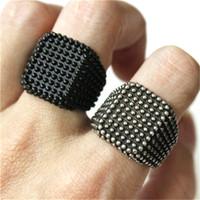 2 teile / los Neueste Design Beliebte Silber Schwarz Ring 316L Edelstahl Modeschmuck Band Party Neueste Punk Ring