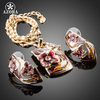 AZORA Gold Color Dark Red Flower Oil Painting Pattern Stud E...