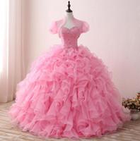 Dresses rosa quinceanera 2021 abiti da ballo in rilievo pura giacca rufflata organza pizzo schiena gonfio vero vestito da ballo