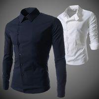 الرجال عارضة قمصان الموضة الجديدة الذكور قميص الأعمال يتأهل الخريف الربيع بأكمام طويلة ساحة طوق القمم أزرار الذكور منحرف تيز