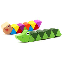 Baby New Wooden Toys Cute Transformable Crocodile Caterpilla...