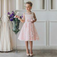 Новое прибытие дети юбка белый кружева Принцесса цветочница платья кружева аппликации причастие платья девушки театрализованное представление платья