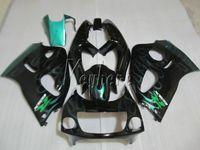 Motorcycle Fairing kit for Suzuki GSXR600 96 97 98 99 green flames black fairings set GSXR750 1996-1999 OI04