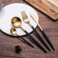 Quality 304 Stainless steel Spoons Forks Knifes Brush Gold T...