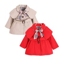 cute causal baby girl trench coat solid belt European style ...