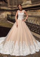 vestidos де Novia 2017 New A Line шампанского Свадебные платья Свадебные платья белого шнурка Аппликация развертки Поезд Sheer декольте свадебное платье