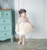봄 가을 새로운 아기 소녀 파티 드레스 짧은 소매 모직 솜털 드레스 소프트 거즈 계층 드레스 어린이 의류 E10101