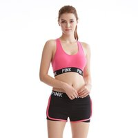 Pink Letter Sports Bras Running Yoga Shirts Pink Gym Bras Pu...