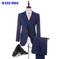 2017 Blue Groom Tuxedos 2 Buttons Groomsman Suit Worsted Woo...