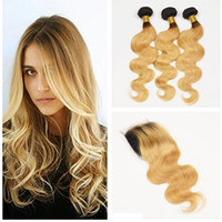 Ombre Hair Extension # 1b 27 Honey Blonde Ombre Radice scura capelli umani 3Pcs con chiusura in pizzo Two Tone Body Wave Weave Bundles